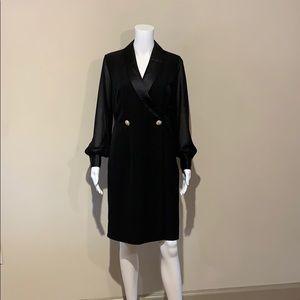 NWT Tahari Tuxedo Dress Black Long Sleeve V-Neck